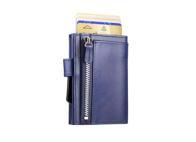 CASCADE ZIPPER navy blue leather